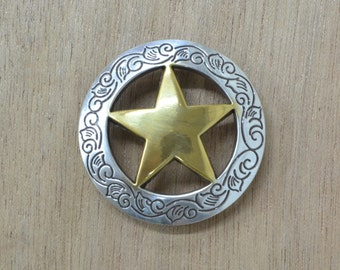CHOOSE Finish and Size- Saddle Concho Silver OR 2-Tone Ranger Star
