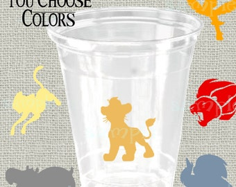 24 Jungle King decals vinyl King lion party decorations Jungle Lion birthday party cup stickers lion bday party cup stickers party favor cup