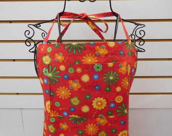 588 Retro Flowers Apron; Mod Apron; Funky Apron; Red Apron; Full Sized Apron, with Bib and Side Pockets, Cotton Fabric