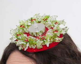 Office Party Hat, Christmas fascinator, Holly Hair Accessory, Light-up Holiday Headwear, Seasonal Headpiece, Red and Green Hair Clip