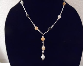 Beaded Y Necklace with Amazonite