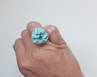 Adjustements celadon porcelain flower ring