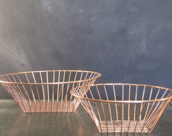 Pair of Vintage Copper Wire Baskets