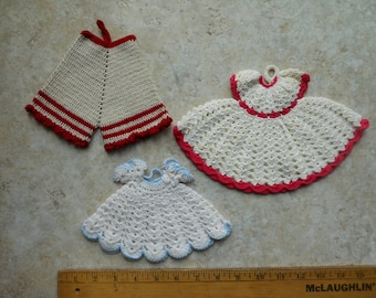Vintage Crocheted Wall Hangings Dresses and Bloomers