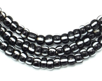 200 Vintage Black with White Striped African Glass Beads (4mm) - African Trade Beads from Ghana - Wholesale African Beads (67-GHA-STP)