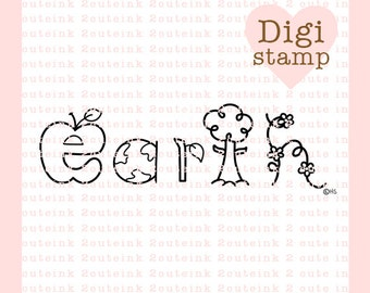 Earth Word Art Digital Stamp - Earth Day Stamp - Digital Earth Stamp - Earth word Art - Earth Card Supply - Earth Craft Supply