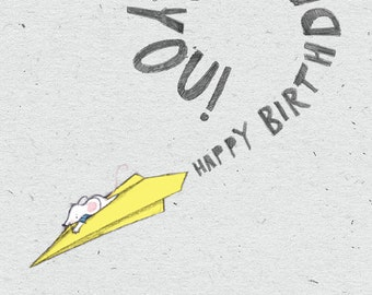 Happy Birthday… A Rosie & Radish 'Loud Mouse' Aeroplane Greeting Card
