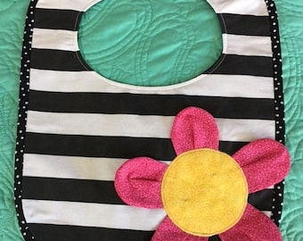 Zebra-Themed & Flower Striped Baby Bib