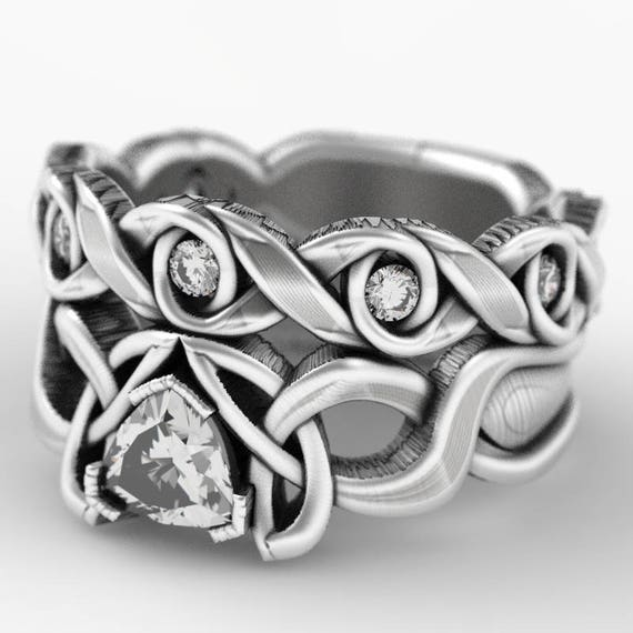 Trillion Moissanite Engagement & Wedding Ring Set, Sterling Silver Celtic Knot Ring, Celtic Wedding Band Set, Made in Your Size CR-405f