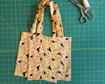 Black Bird Print Fat Quarter Tote Bag, Fabric Gift Bag, Small Cotton Tote