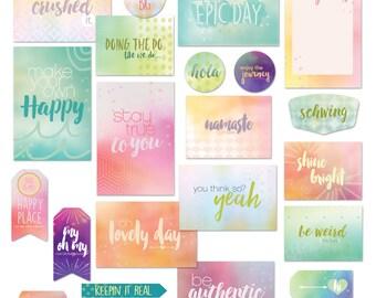 Digital Scrapbook Cards / Scrapbooking Journal Cards / Project Life Cards / Pastel Color Scrapbook Cards / Watercolor