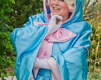 Adult size Fairy Godmother Gown and cape with hood- optional wig
