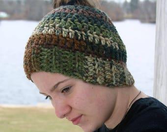 Messy bun hat, messy bun beanie, camo hat, camo bun beanie, ponytail hat, ponytail beanie,  winter hat, pony tail hat, camouflage hat