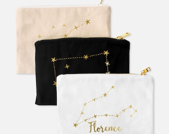 Gold Foil Zodiac Pouch- canvas pouch with brass zipper, customized with astrology constellation, astrology sign, zodiac gifts, monogram sign