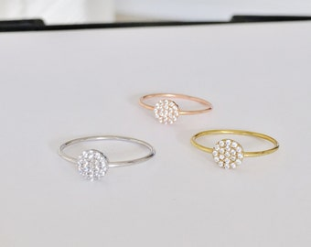 Round Pave Rings, with Dazzling Zirconia • Perfect For Every Outfit • Safe to Get Wet • A Beautiful Ring Gift For Her Cute Fingers