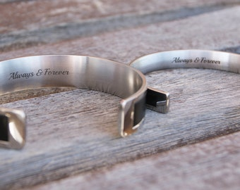 His and Hers Unique Couples Wedding Gift Personalized  Matching Bracelets Black Leather and Stainless Steel Custom Text Engraving