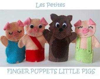 Three little pigs, felt finger puppets-Finger Puppets