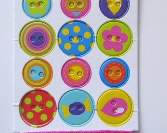 12 buttons box of 2 sizes + Ribbon and Twine - 2 times x 1 m