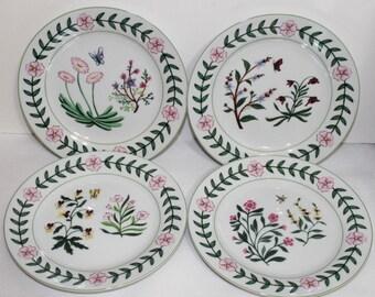 Godinger Botanical Porcelain Dessert Plates - Set of 4 Floral Plates