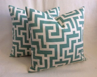 Turquoise Geometric Pillow Cover Set