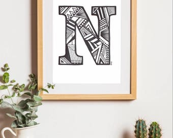 Printable Letter Art, Letter N Drawing, ANY LETTER AVAILABLE, Any Font Available, Geometric Art, Alphabet Art, Monogram, Digital Download
