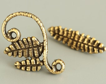"""Brass Toggle Clasp - Handmade Toggle - Natural Clasp - Aged Toggle - Handmade Findings L2622(1)""""Relic forest"""" collection."""