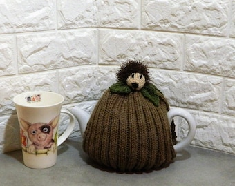 Knitted Hedgehog, knitted cosies, knitted cosy, Hand-knit gifts, hand knit tea cosy, Tea Pot Cover, Tea Cozy, Tea drinkers gift, tea cosies,