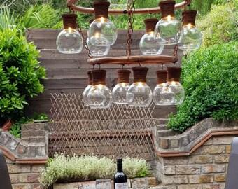 Copper indoor/outdoor chandelier