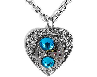 Steampunk Jewelry Necklace Vintage Ruby Watch Silver HEART Turquoise Crystals Wedding, Bridesmaids, Mothers Day Gift - Steampunk Boutique