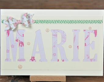 Baptism Card Ribbon, birthday cards, with names