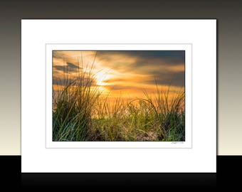 Limited Edition Matted Photography Print, Sand Dune Sunrise, Amber Themed Wall Decor, Ready for Framing