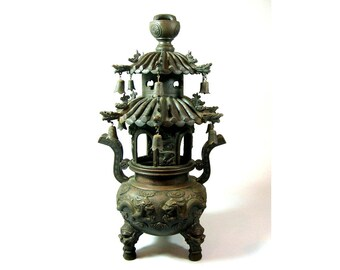 Impressive Large Antique 'Dragon Pagoda' Bronze Incense Burner Censer