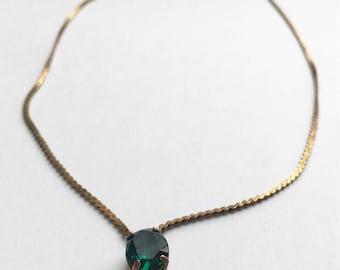 Copper necklace with emerald rhinestone