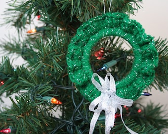Crochet Christmas Ornament, Sparkly Green Wreath with Silver Ribbon