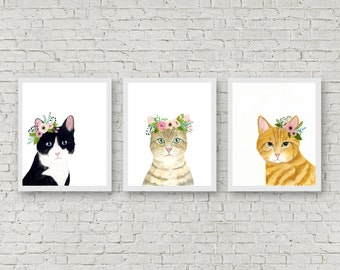 Watercolor cats. set of 3, flower crown cats, Animal Paintings, watercolor animal, woodland, kids poster, kitten painting, cat painting,