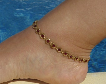Seed bead anklet, Ruby and Gold anklet, Gold Beaded ankle chain, Beach ankle bracelet