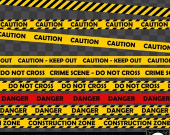 Caution Tape Lines - Clip Art - 20 Pieces Included - PNG Files #84