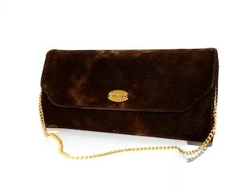 Vintage Brown and Gold Clutch Bag / Vintage Brown and Gold Chain Purse / 1970's European Vintage Brown and Gold Chain Velvet Clutch Handbag