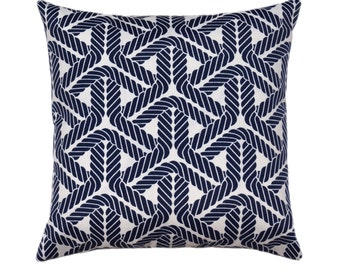 Navy Blue and White Outdoor Pillow Cover // Sailing Theme // Nautical Outdoor Cushion // Boat Pillow // Rope Print Pillow with hidden zipper