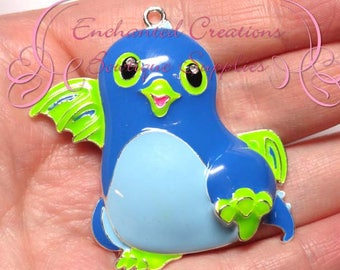 "2"" Blue and Green Dragon Hatchimal Inspired Charm, Chunky Pendant, Keychain, Bookmark, Zipper Pull, Chunky Jewelry, Purse Charm"