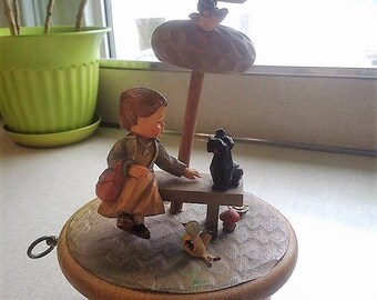Vintage Hand-carved ANRI Music Box (Girl with Dog)