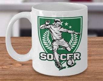 Soccer 11oz White Coffee Mug - Green Soccer Player Kicking - Gift for Soccer Players, Soccer Gift Idea, Soccer Coach Gift, Soccer Mug