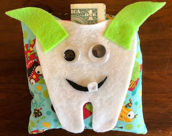 Tooth fairy monster pillow 6.5x6.5