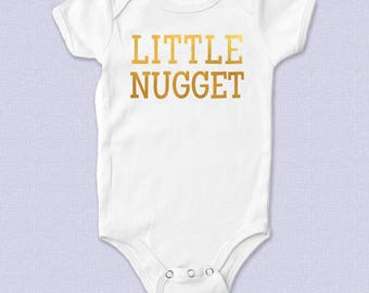 Little Nugget Baby Bodysuit, Little Nugget Toddler T-shirt, Metallic Gold, Pregnancy Announcement, Baby Shower Present, Nickname Shirt, Gift