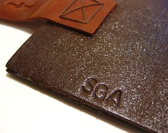 Stamped Initials/ Monogram on Leather Journal from Delicate Utility