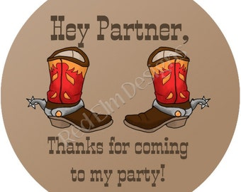 "Cowboy Boot Stickers - Sheet of 20 - 2"" round.  Cowboy Birthday Party Favors.  2 Inch Round Cowboy Stickers"
