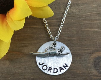 Personalized Swimmer's Necklace - Hand stamped Name Necklace - Swim Coach Gift - Swimming Lover Gift - Swim Team Participant Necklace