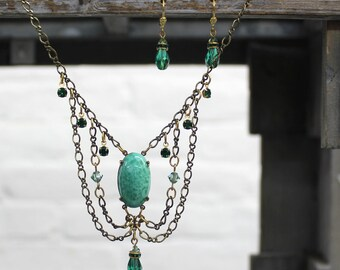 Sadie Green's Vintage Glass Necklace Accented with Swarovski Crystals & German Glass and Earrings Set | Reign Jewelry | The Tudors