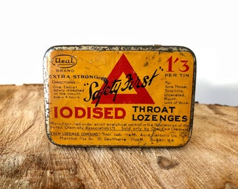 Vintage Metal Tin - Ucal Safety First Iodised Throat Lozenges  - circa 1920
