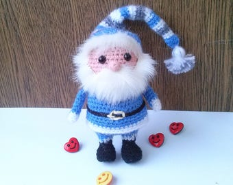 Knitted Gnome Doll,Amigurumi Gnome Toy, Christmas Gnomes Figurine, Hand Knitted Santa Claus, Santa's Helper, Gnomes decoration Ready to Ship